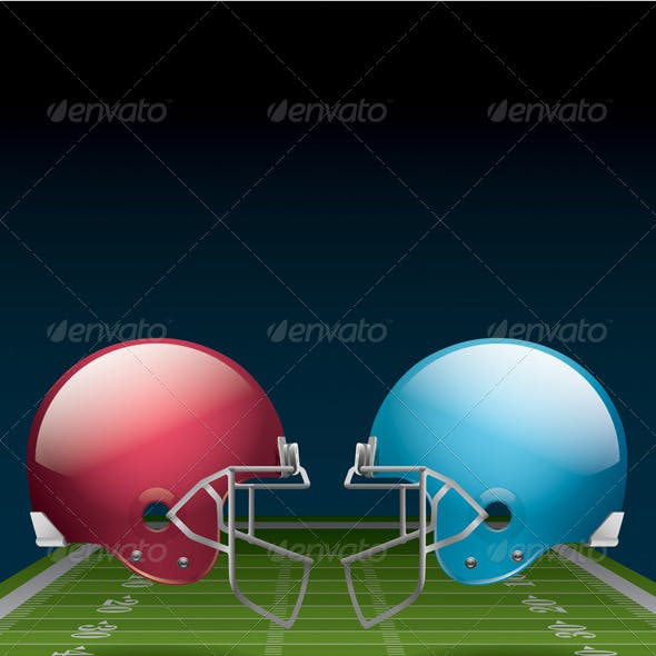 American Football Field and Helmets