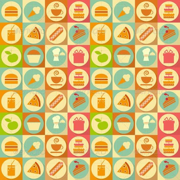 Flat Food Seamless Background