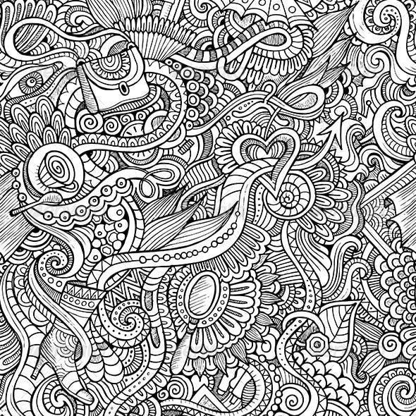 Doodles Seamless Fashion Pattern