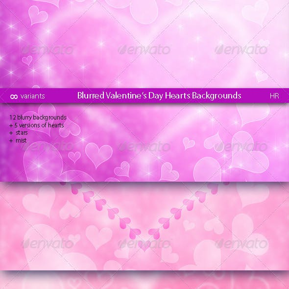 Blurred Valentine's Day Hearts Backgrounds