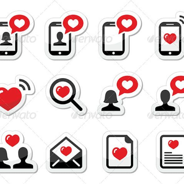 Couples Valentine's Day Icons Set