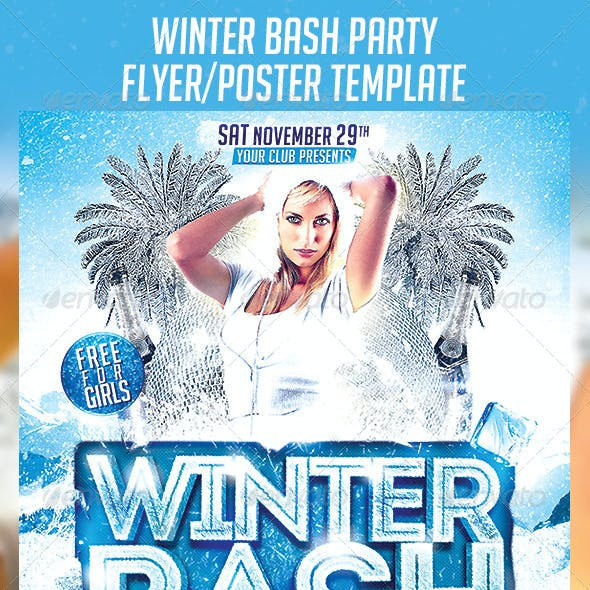 Winter Bash Party Poster Template