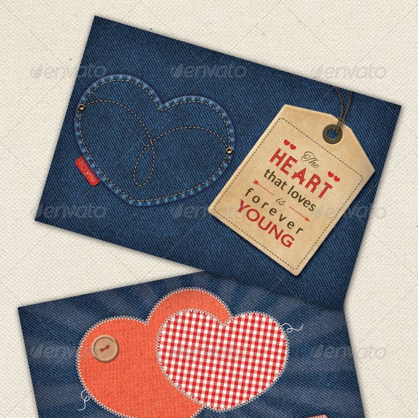 Valentine's Cards on Denim