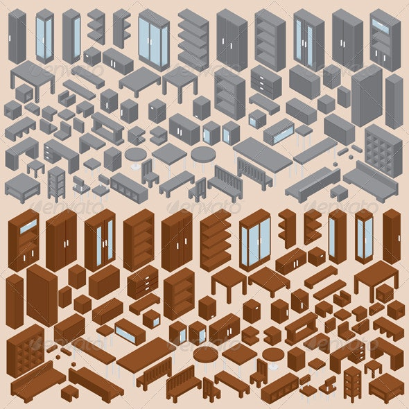 Isometric Furniture Vector Set Two - Man-made Objects Objects