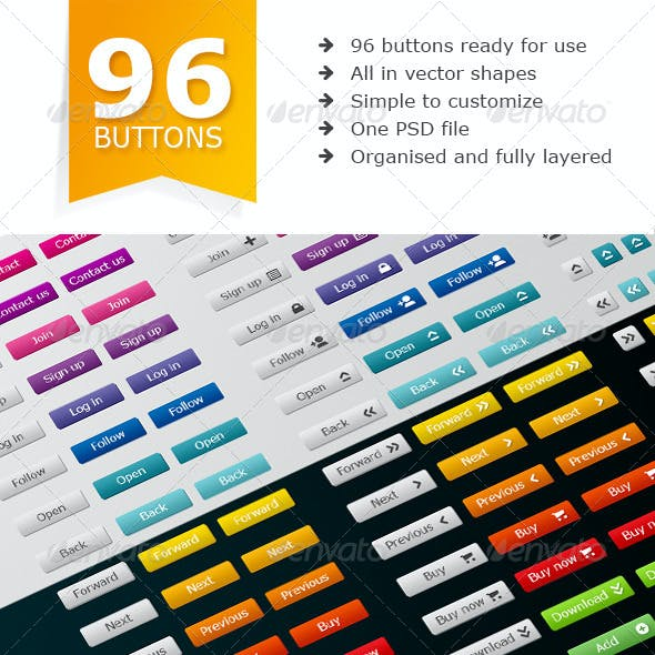96 Simple web buttons pack