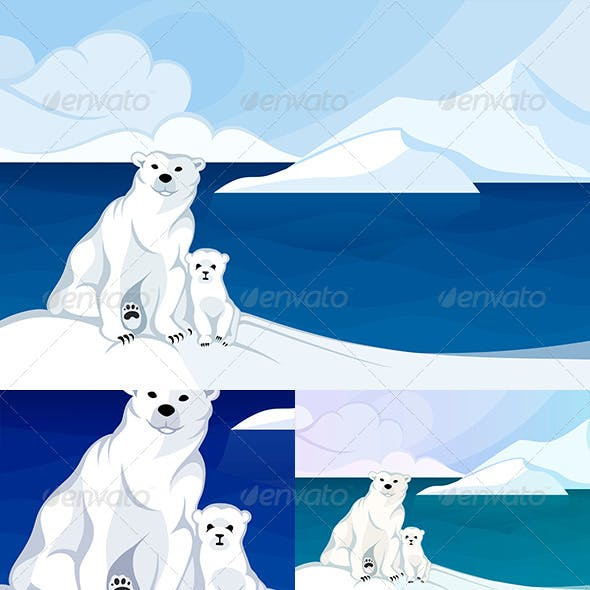 White Polar Bear with a Cub in Front of Polar Land