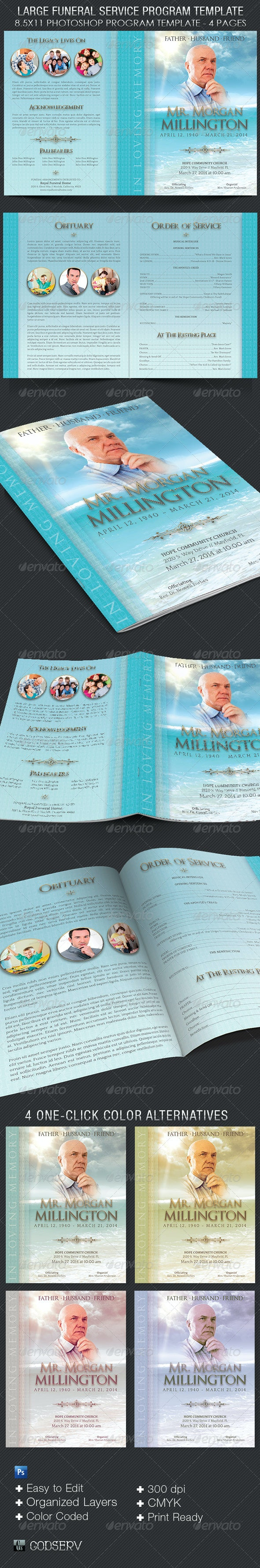 Oceanic Funeral Program Large Template - 4 Pages - Informational Brochures