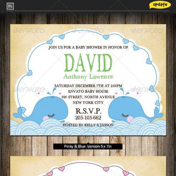 Baby Shower Invitation - Whale