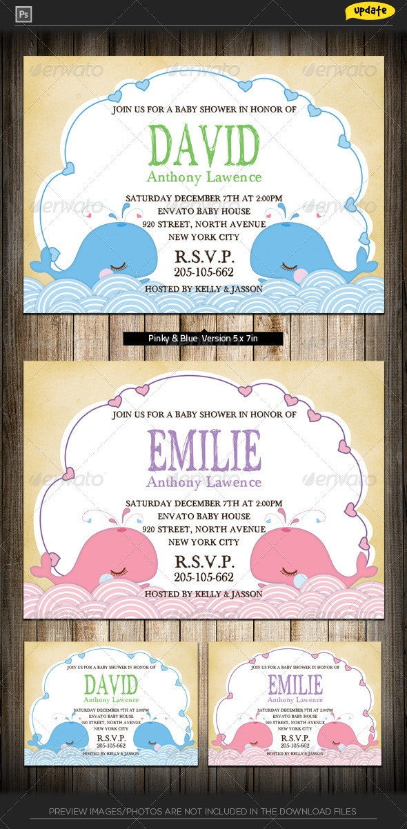 Baby Shower Invitation - Whale - Family Cards & Invites