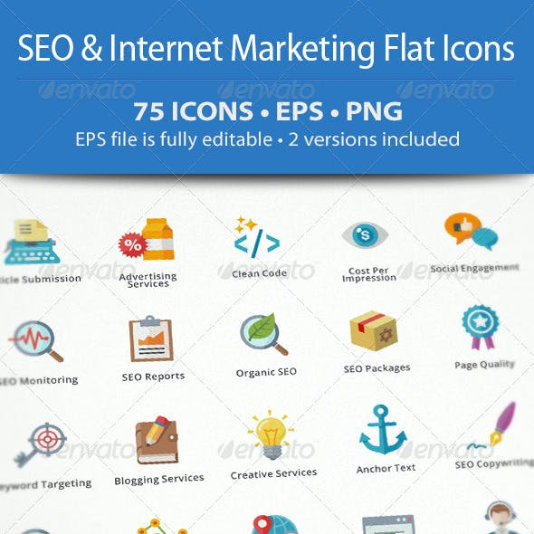 SEO & Internet Marketing Flat Icons