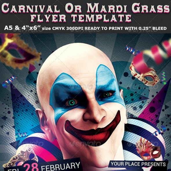 Carnival n Mardi Grass Party Flyer