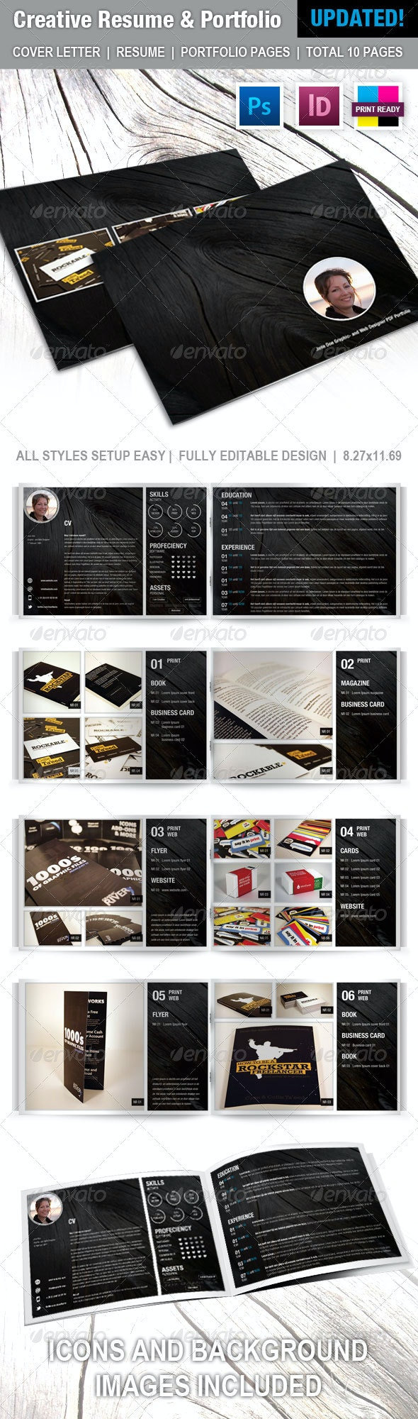 Creative Resume and Portfolio Booklet - Resumes Stationery