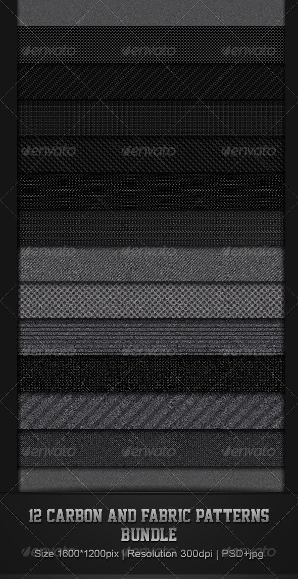 12 Fabric & Carbon Patterns Bundle - Patterns Backgrounds