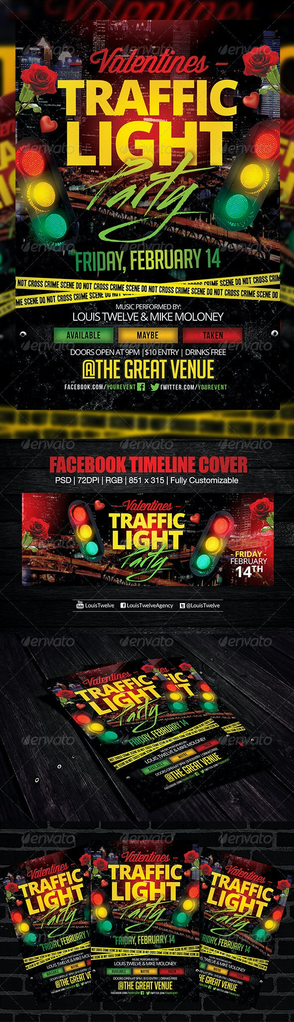 Valentines Traffic Light Party Flyer + FB Cover - Clubs & Parties Events