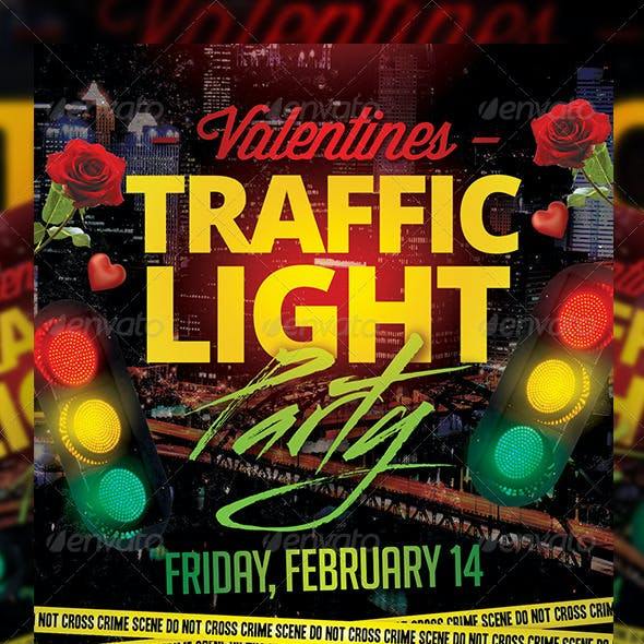 Valentines Traffic Light Party Flyer + FB Cover