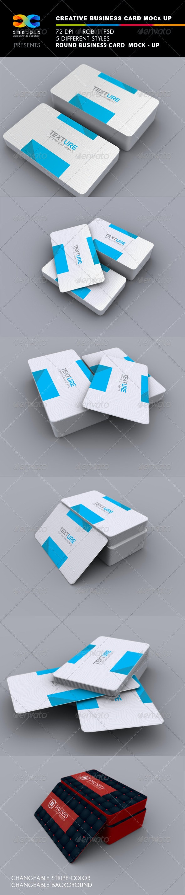 Realistic Round Corner Business Card Mock-up - Business Cards Print