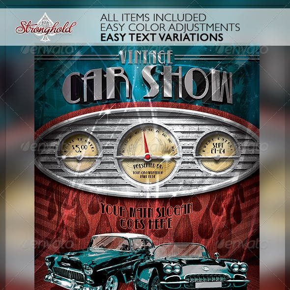 Vintage Car Show Dashboard Flyer Template