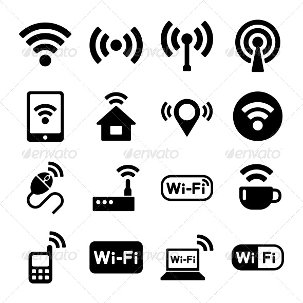 Wireless Technology, Wi-Fi Web Icons Set