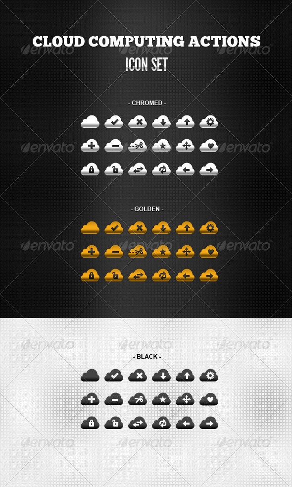Cloud Computing Actions - Web Icons