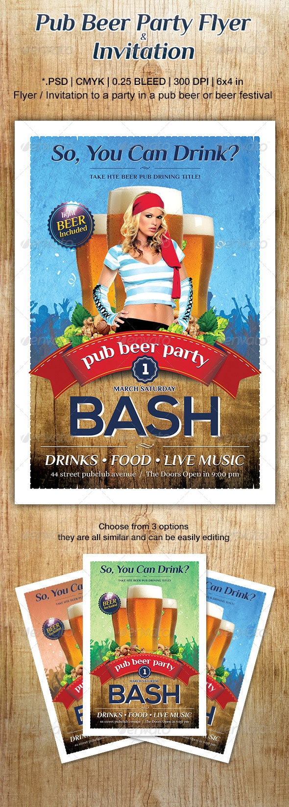 Pub Beer Party Flyer or Invitation - Events Flyers