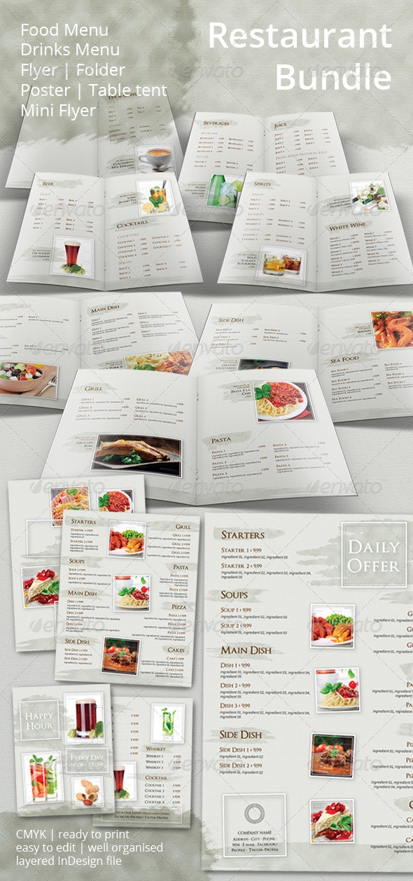 Restaurant Menu and Promotional Set Bundle - Food Menus Print Templates