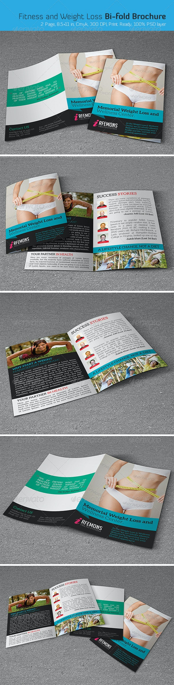 Fitness and Weight Loss Bi-fold Brochure - Corporate Brochures