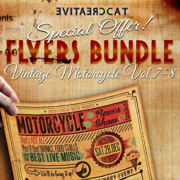 Vintage Motorcycle Flyer/Poster Bundle Vol. 7-8