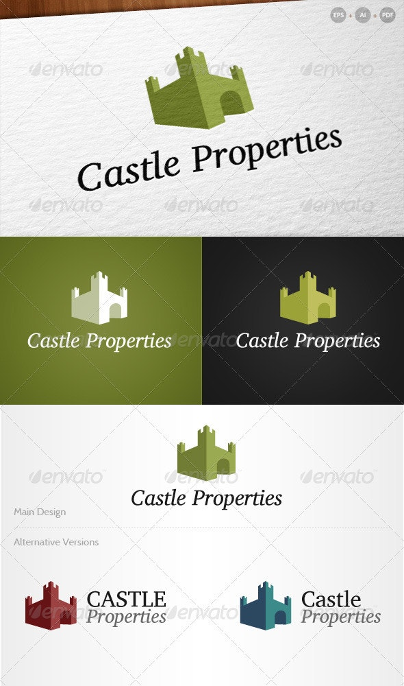 'Castle Properties' - Real Estate Logo - Buildings Logo Templates