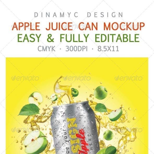 Design for Apple Juice with Mockup Can