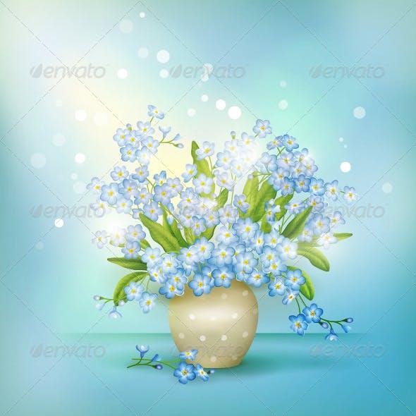 Spring Blue Flowers Season Background