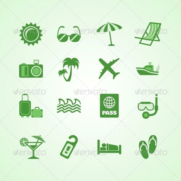 Vacation Travel Green Icons Set