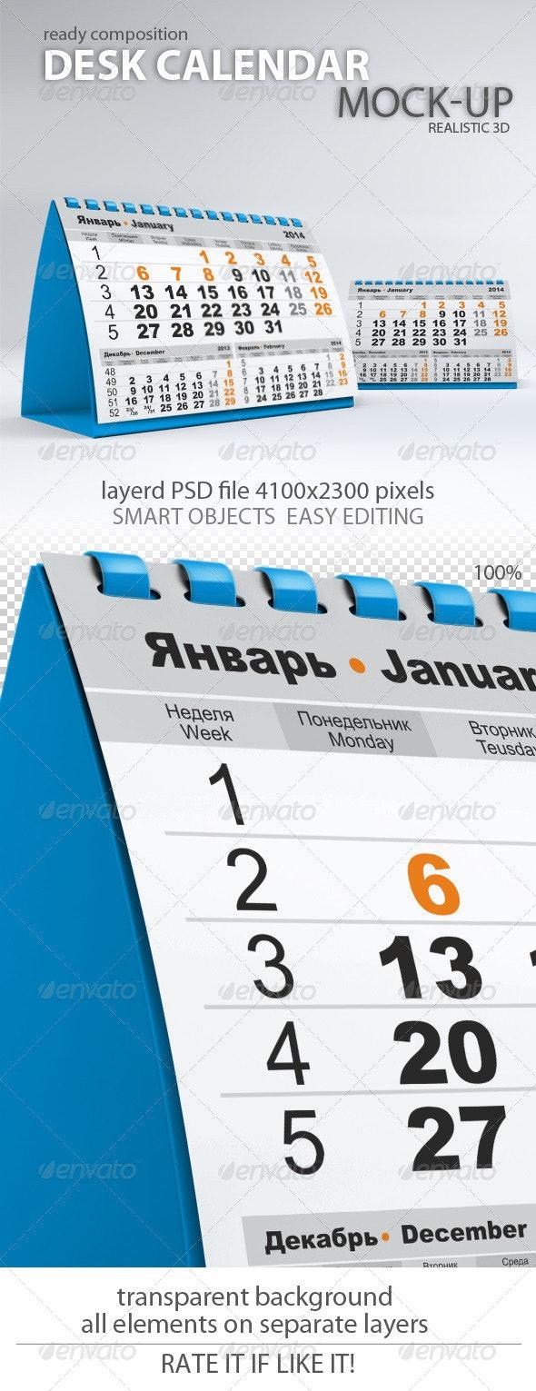 Desk Calendar Mock-Up - Miscellaneous Print