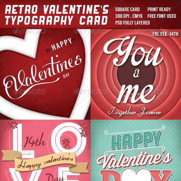 Retro Valentines Typography Cards