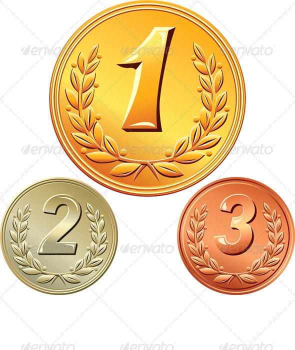 Vector Set of Gold, Silver and Bronze Medals  - Concepts Business