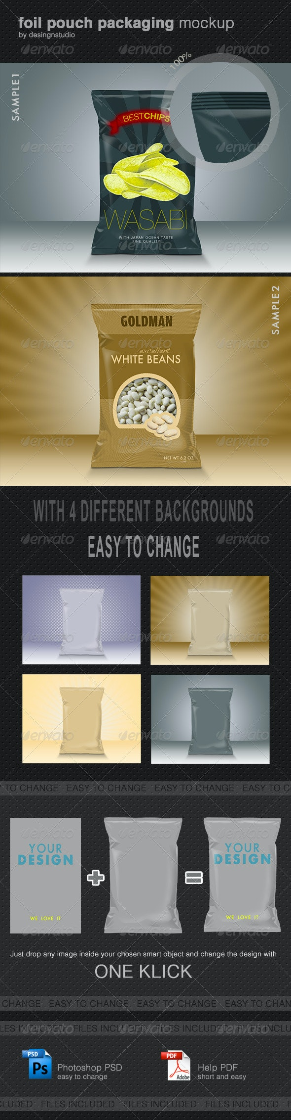 Foil Pouch Packaging Mock-Up - Food and Drink Packaging