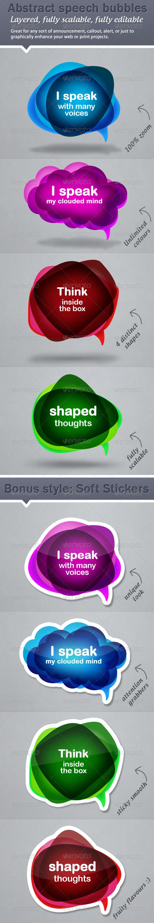Colourful, Abstract Speech Bubble Callouts - Miscellaneous Social Media