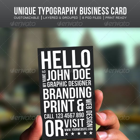 Unique Typography Business Card