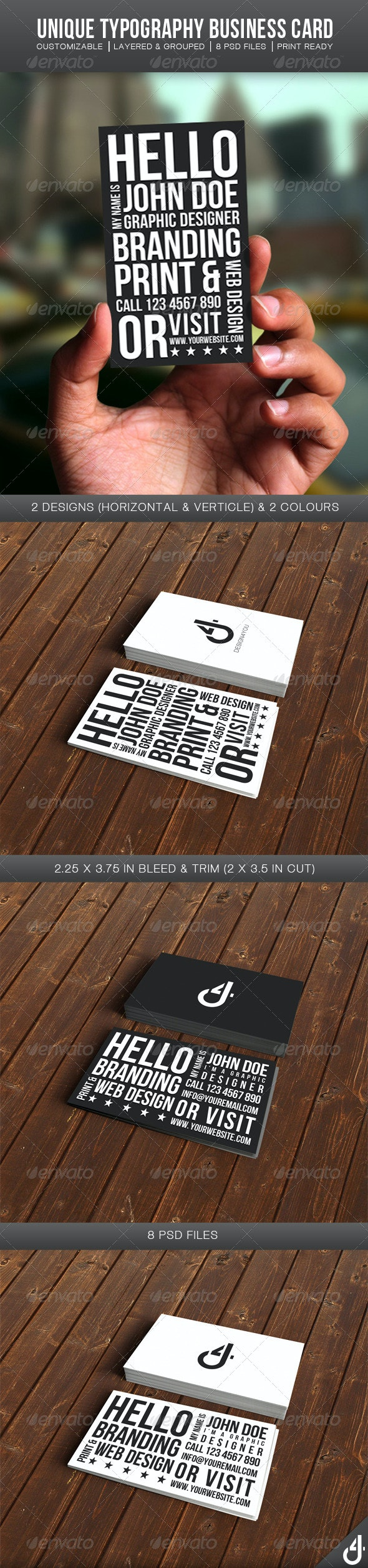 Unique Typography Business Card - Creative Business Cards