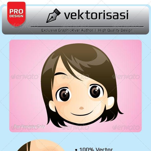 Little Girl Face Vector