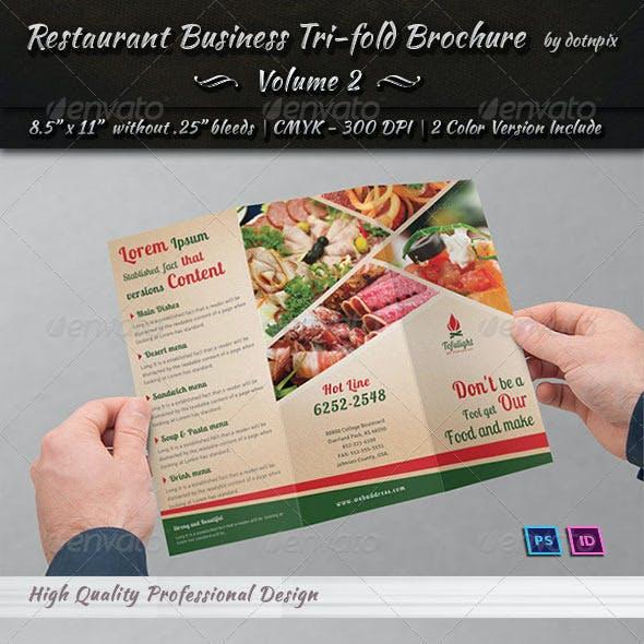 Restaurant Business Tri-Fold Brochure | Volume 2