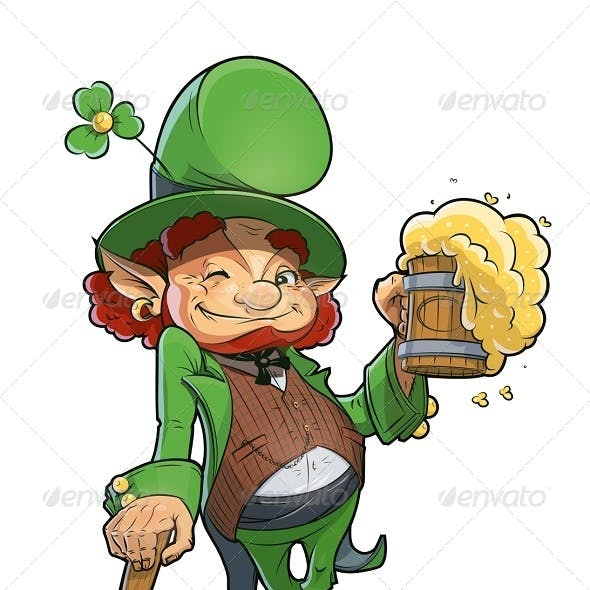 Dwarf with Beer. Illustration For Saint Patricks