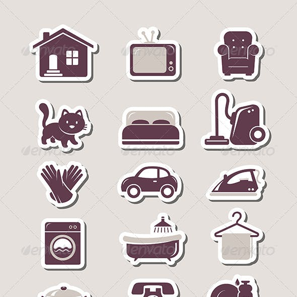 Household Paper Cut Icons