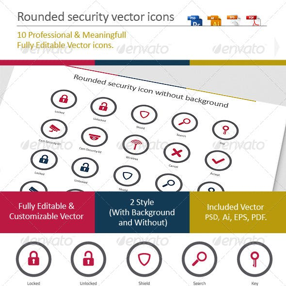 Rounded Security Vector Icons
