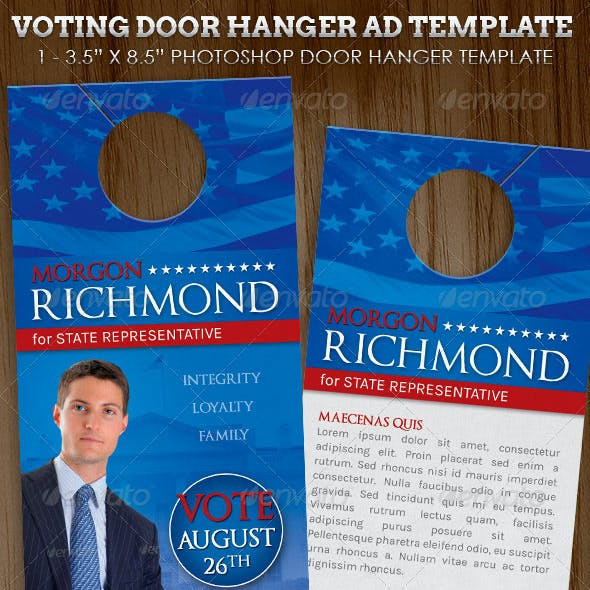 Voting Campaign Door Hanger Template