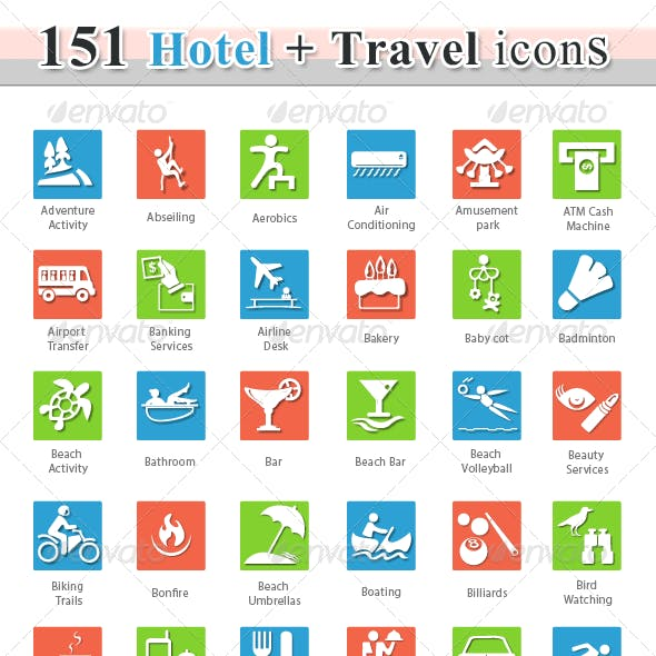 76 Travel and Hotel Icons