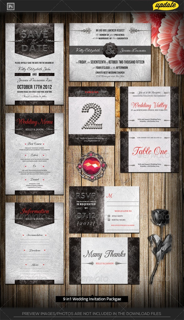 Royal Silver Chrome Wedding Invitation Package - Weddings Cards & Invites