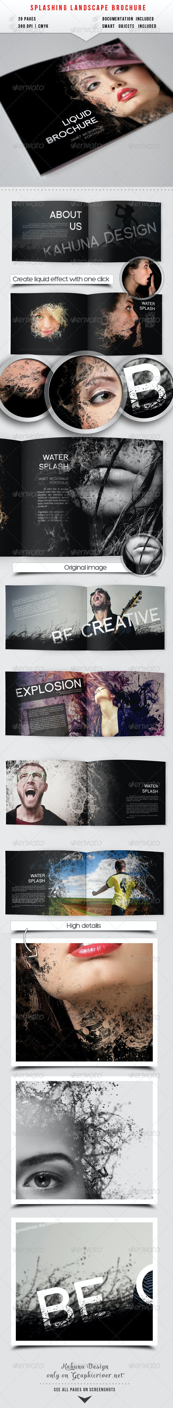 Splashing Landscape Album - Photo Albums Print Templates