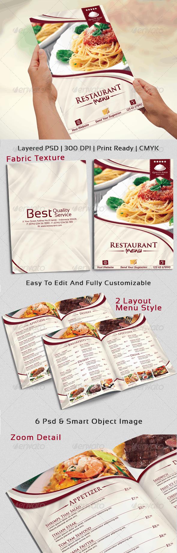 Modern & Elegant Restaurant Menu Templates  - Food Menus Print Templates