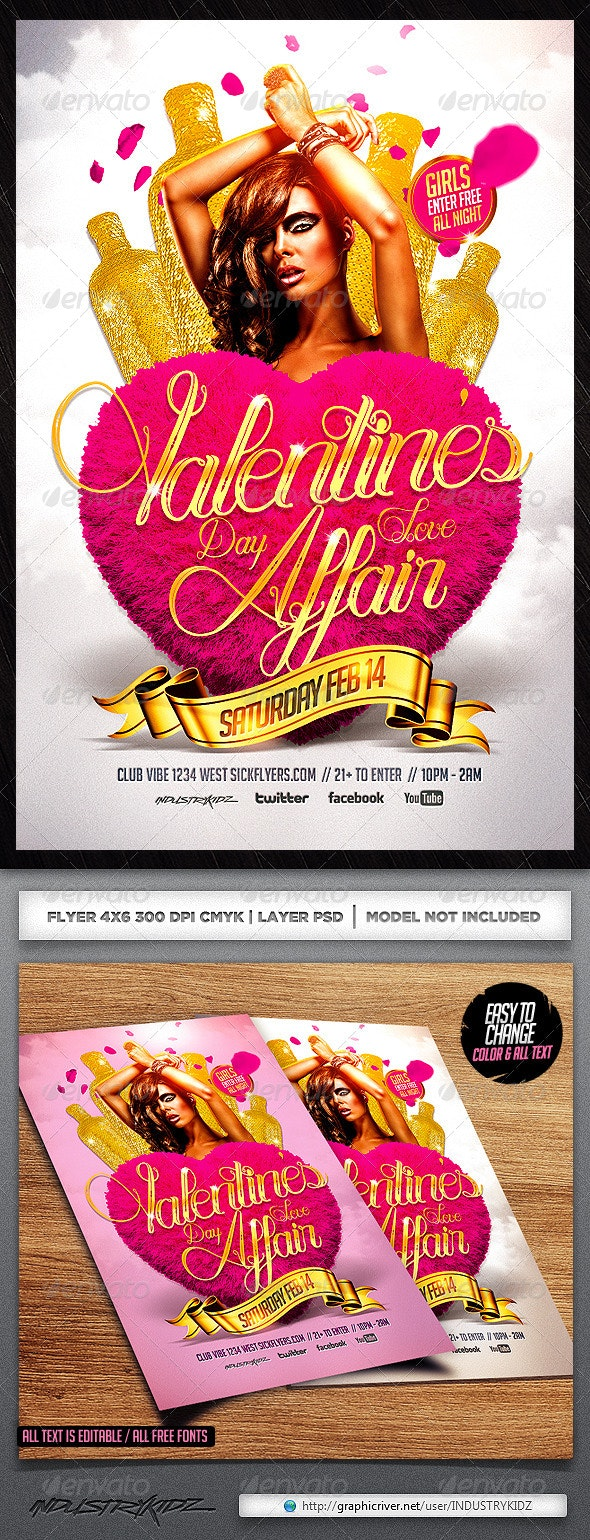 Valentine's Day Affair Flyer Template PSD - Holidays Events