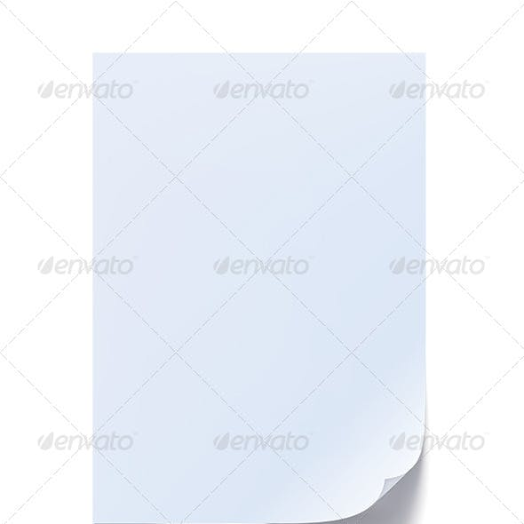 Blank Sheet of Paper with Curl
